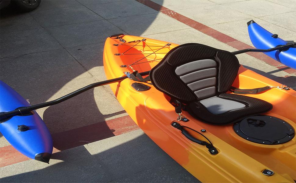 Black Nylon Kayak Rudder Tail//Rear Rest Rack Holder Stand Accessory+2Pcs Screws