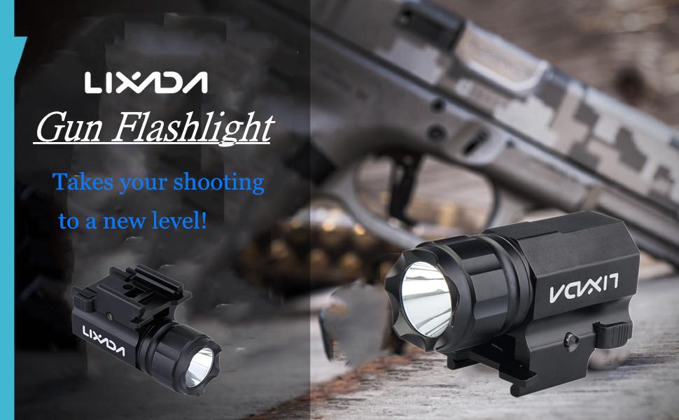 Lixada LED Tactical Gun Flashlight 600LM 2-Mode Handgun Torch Light