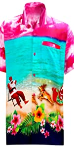 pink christmas beach shirts for men aloha santa claus shirts for men