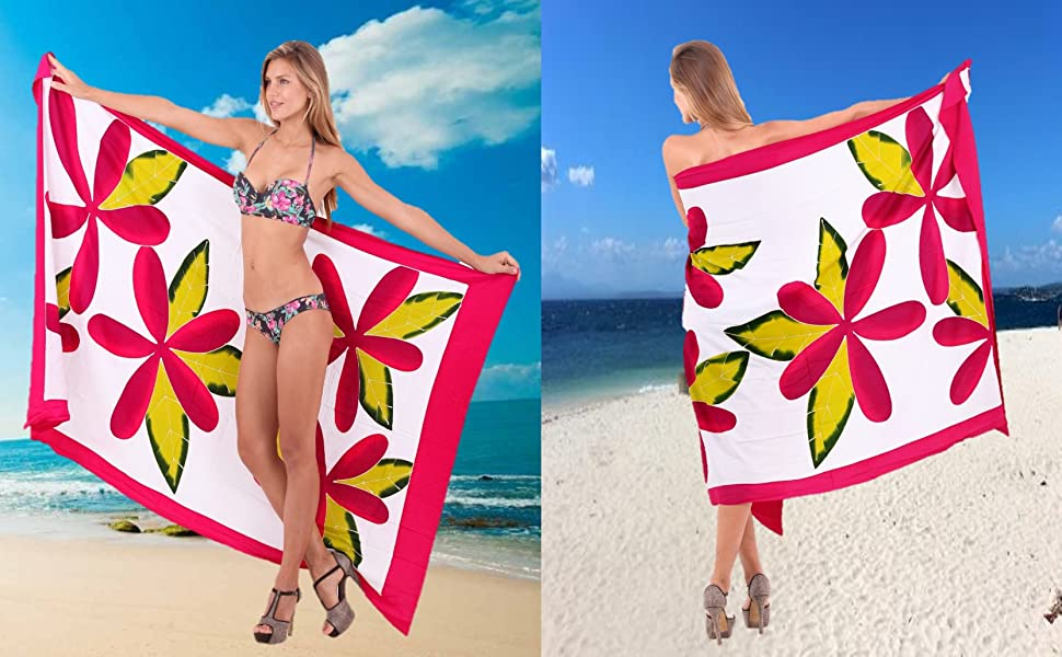53111c05699e2 LA LEELA Rayon Swimsuit Scarf Deal Dress Sarong Printed 78