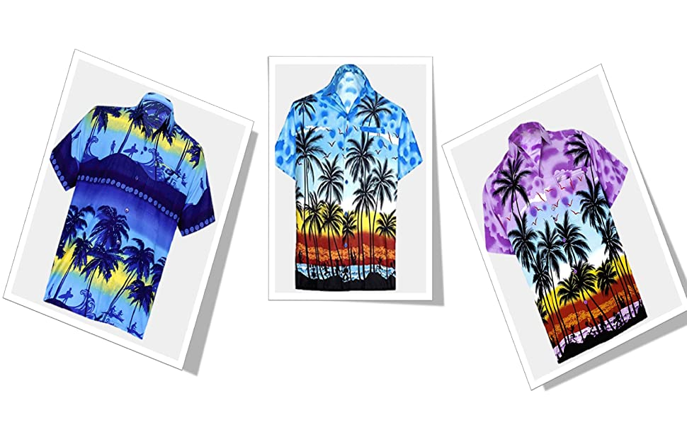 beach palm tree casual hawaiian shirts for men