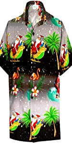 Black Chirstmas shirt for men beach santa claus shirts for men