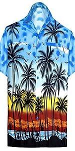 BRIGHT BLUE PALM TREE PRINTED SHIRTS FOR MEN