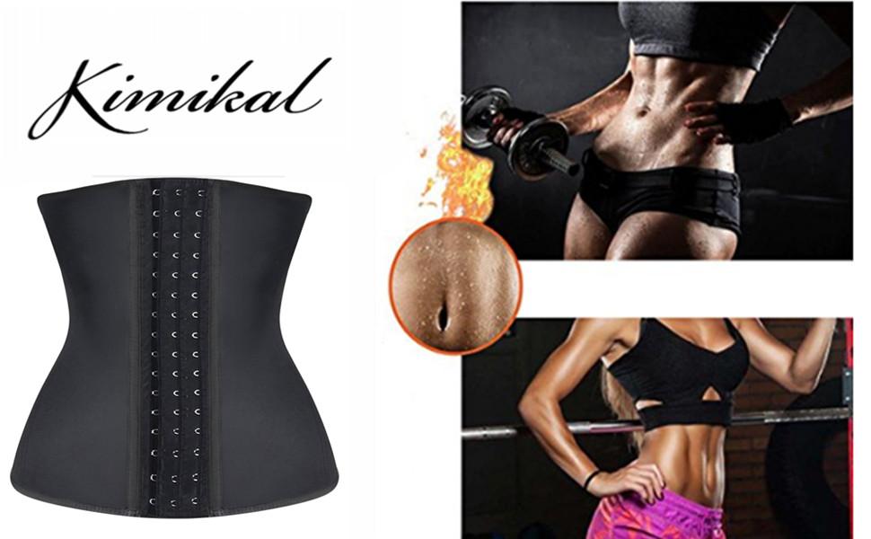 4b73d51e260 Amazon.com  Kimikal Women Latex Waist Trainer Underbust Steel Boned ...