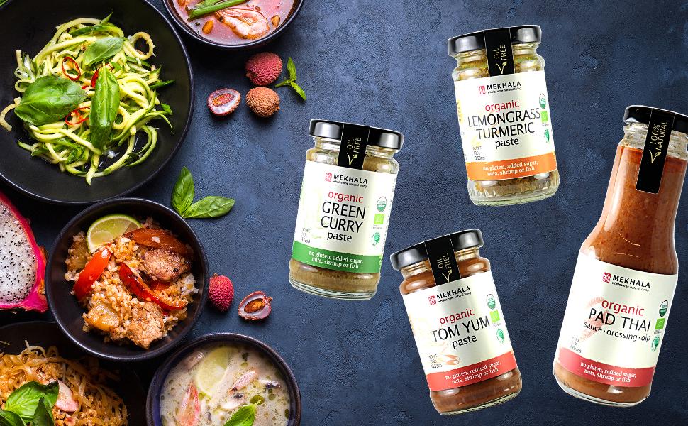 organic, vegan, gluten free, nut free, asian pastes and sauces