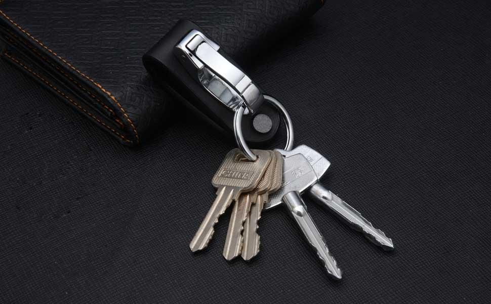 Keychains for Men Liangery Carabiner Genuine Cow Leather Keyring Belt Key Chain Hook Stainless Steel Key Ring Holder
