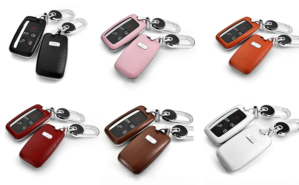 land rover smart car key button key cover black silver orange brown red white key shell leather