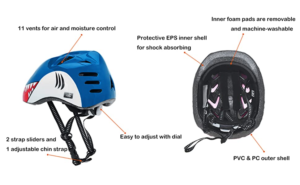 M Merkapa Kids Bike Helmet Adjustable 3D Shark Bicycle