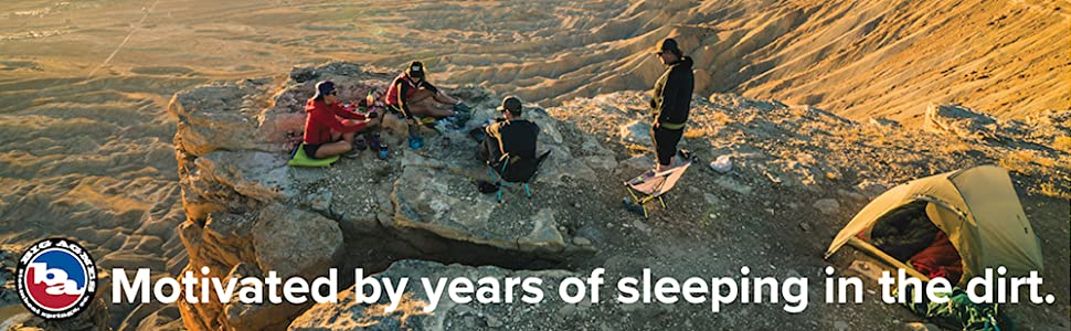 """People camping on cliff. """"Motivated by years of sleeping in the dirt."""""""