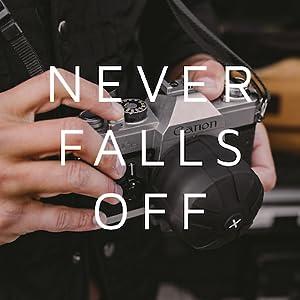 Never falls off your camera lens