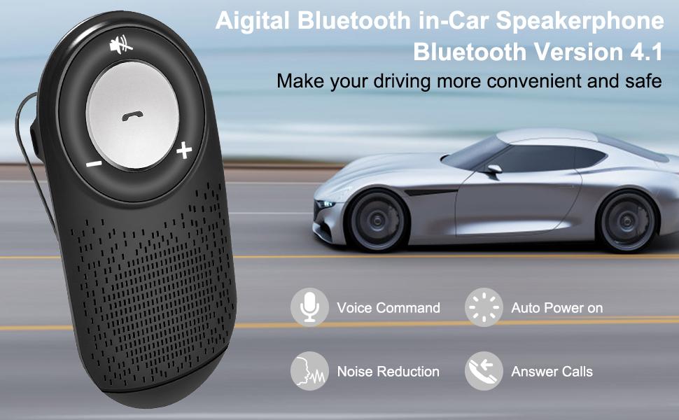 Aigital Bluetooth Speaker Car Kit Wireless Speakerphone For Car Auto Power On Ebay