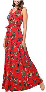 V Neck Maxi Dress with Pockets