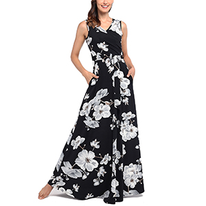 ee096d5ee Comila Women's Summer V Neck Floral Maxi Dress Casual Long Dresses ...