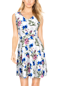 5767c7fec5 Elywish Women s Summer Casual Fit and Flare Sundress Floral Party ...