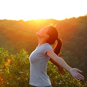 sunshine, sunset, woman, open arms, mountain peak, wellness, cheering