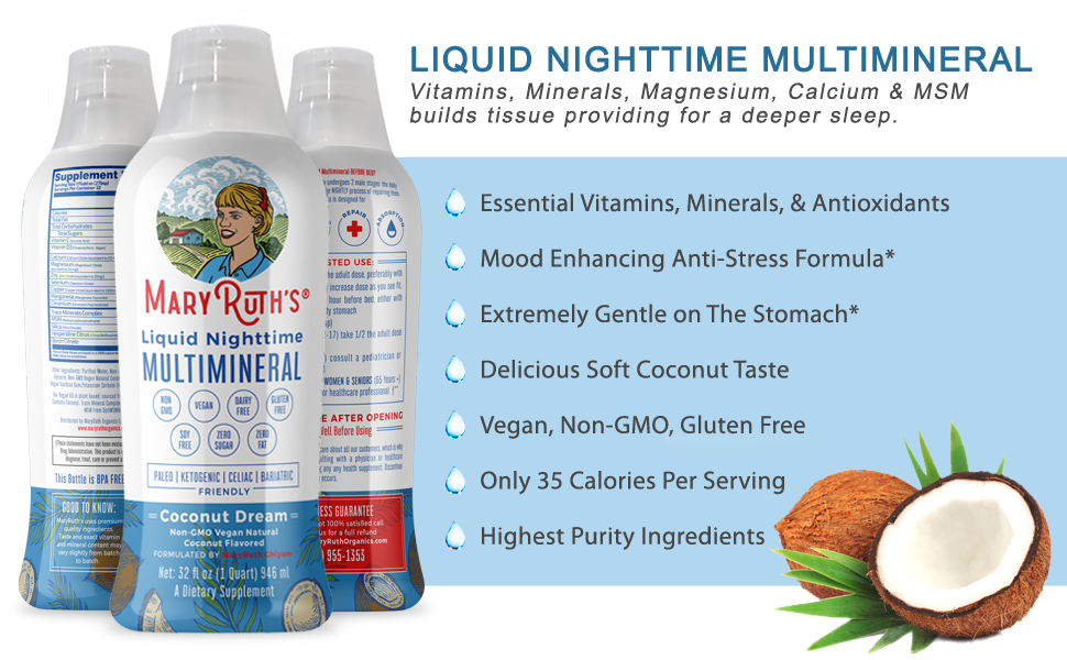 MaryRuth's Vegan Nighttime Liquid Multimineral Coconut Vegan NON GMO