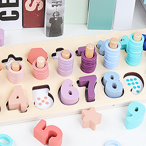 Counting Shape Stacker Wooden Count Sort Stacking Tower with Wood Colorful Number Shape Math Blocks - QZM Counting Shape Stacker Wooden Count Sort Stacking Tower With Wood Colorful Number Shape Math Blocks For Kids Preschool Educational Toddlers Toy