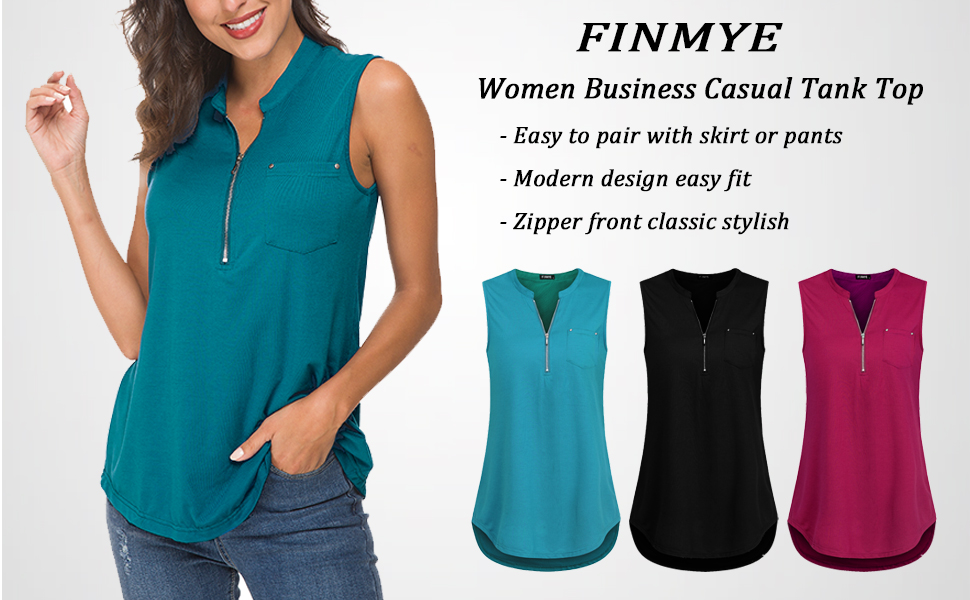 f1af22ddf5a FINMYE Women s Sleeveless Zip-up Blouses Business Casual Tunic Tank ...