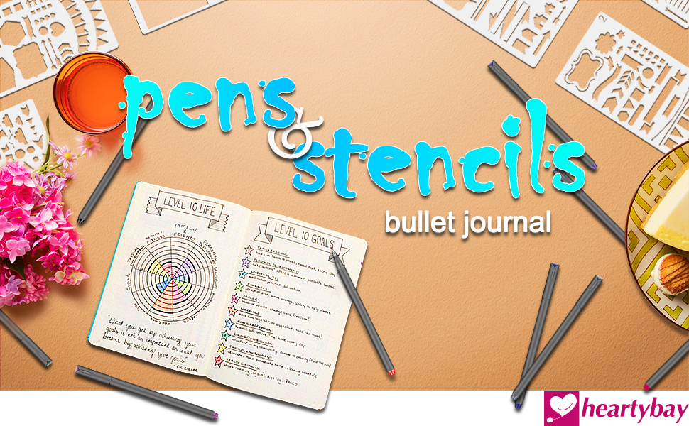 Fineliner 10 Colored pens and 4x7 inch Stencils, Plastic Planner Bullet Journal School Supplies Notebook Diary Scrapbook 12 Pieces DIY Drawing ...