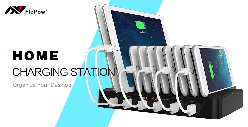 Amazon.com: FlePow 10-Port USB Charging Station Dock with Built-in ...