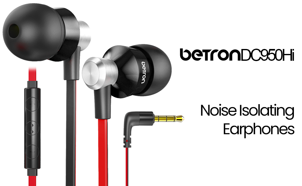 betron dc950 noise isolating earphones with volume controller and microphone