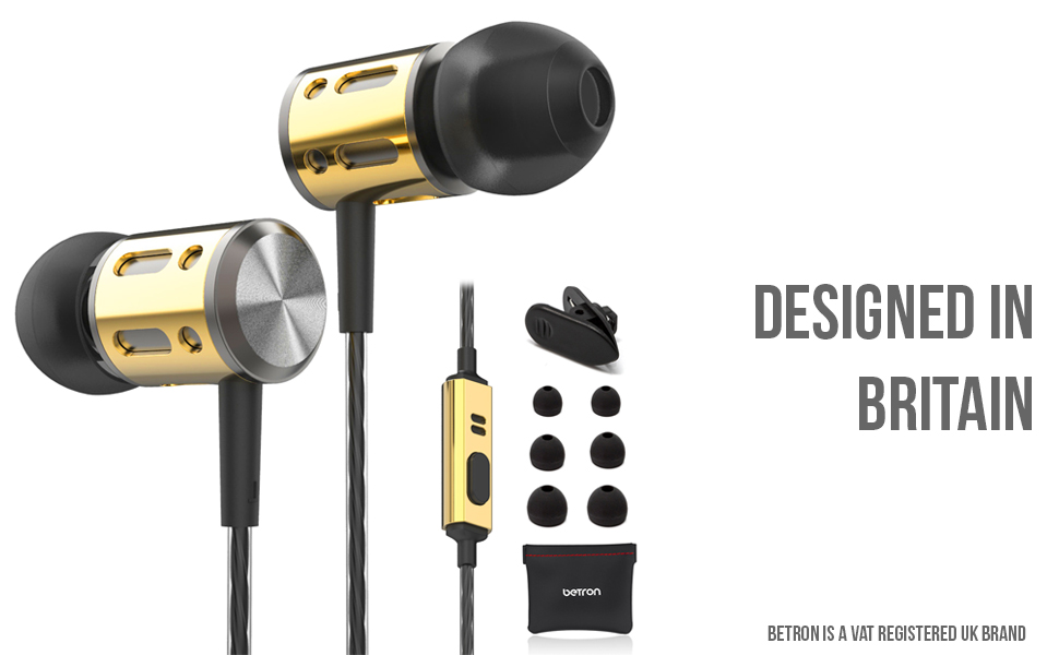 betron ax1 gold noise isolating earphones with accessories
