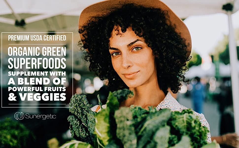 Sunergetic USDA Certified Greens Supplement, over 25 greens, veggies amp; fruits superfood tablets