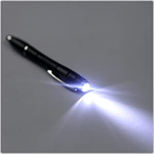 HDE Retractable Ballpoint Ink Pen with Flashlight Rubber Tip Precision...