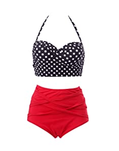 3e56b2e955b48 One set of HDE Women s Retro Bikini High Waist Vintage Style Swimsuit 50 s  Pinup Bathing Suit offers you a better way to experience summer and enjoy  your ...