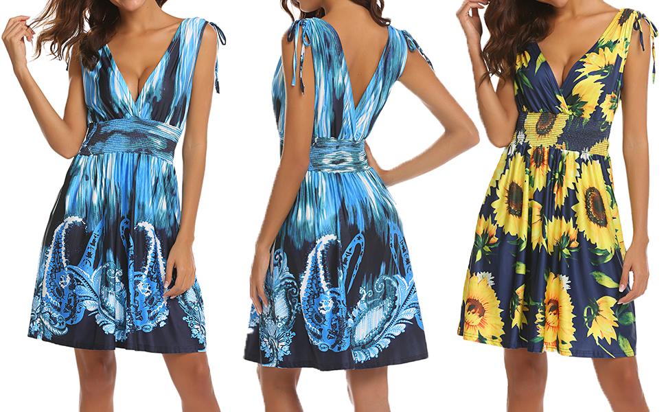 b10606883470 Women's Summer Sundress Floral Printed Sleeveless Casual A Line Dress