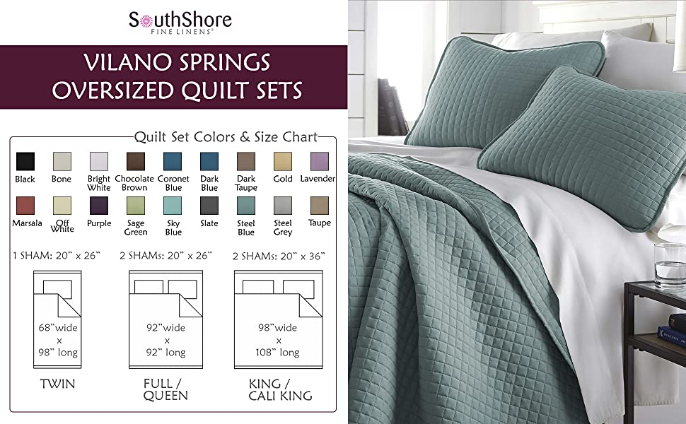 Vilano Springs Quilt Sets Color and Size Chart