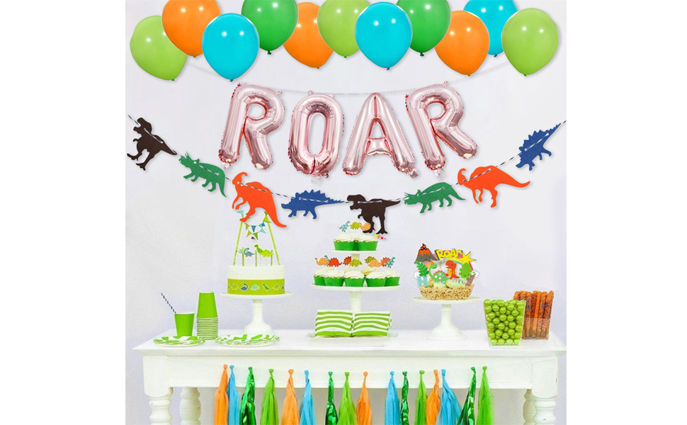 Birthday or Baby shower party decoration Party Banner with name and age Personalized Dinosaur themed Roar banner