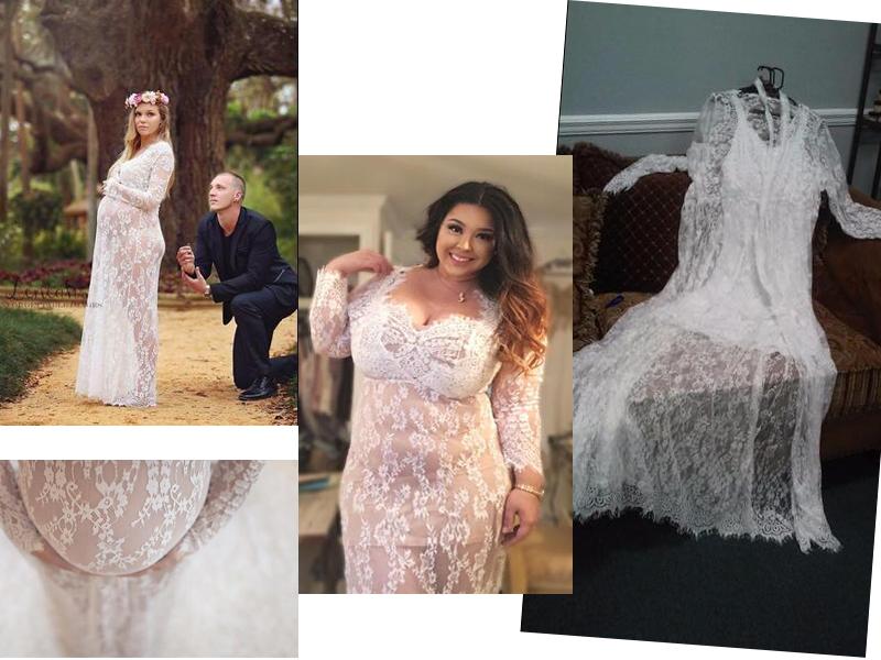 Floral Lace See-though Deep V-neck Long Sleeves Bridesmaid Maxi ...