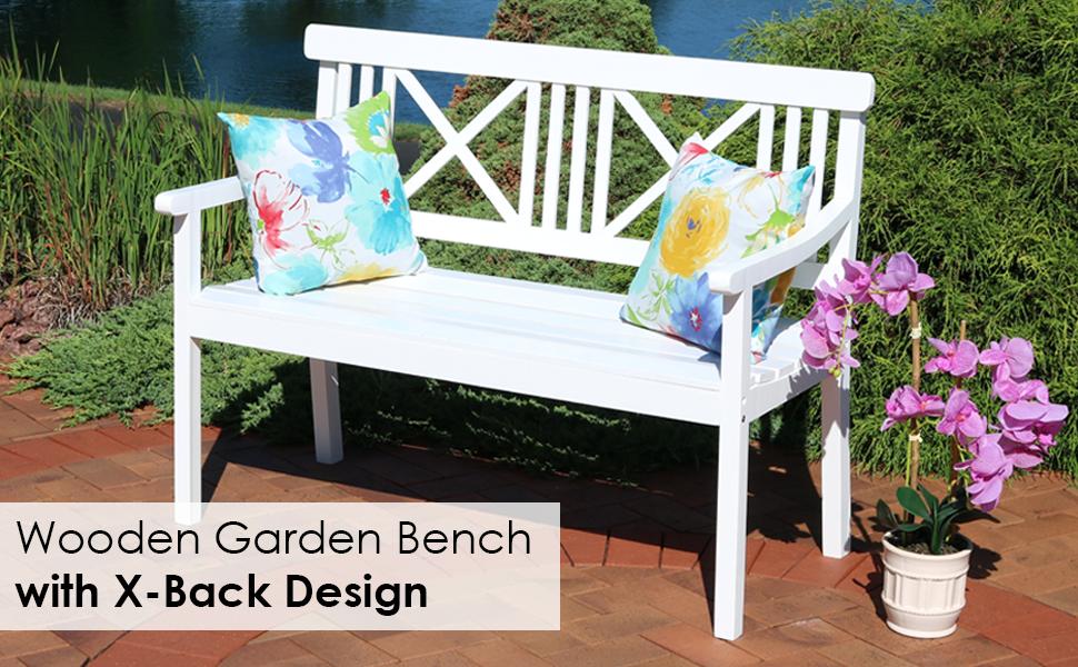 Wondrous Sunnydaze 2 Person Outdoor Wooden Garden Bench With X Back Design 47 Inch White Dailytribune Chair Design For Home Dailytribuneorg