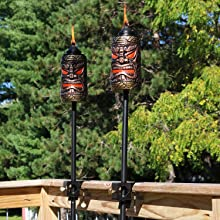 Amazon Com Sunnydaze Tiki Face Torch Outdoor Patio And Lawn Torches 24 To 66 Inch Adjustable Height 3 In 1 Set Of 2 Garden Outdoor