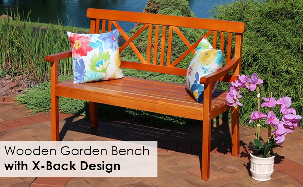 Sensational Sunnydaze 2 Person Outdoor Wooden Garden Bench With X Back Design 47 Inch Brown Dailytribune Chair Design For Home Dailytribuneorg