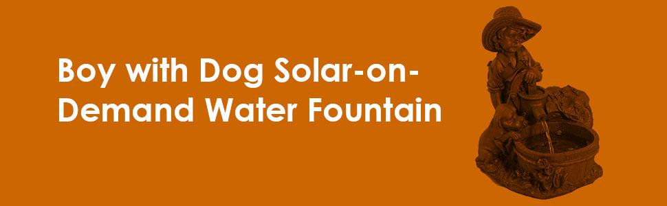 Sunnydaze Boy with Dog Solar Power Water Fountain with LED Light 15.5 Inch Tall