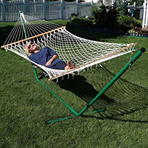 sunnydaze cotton double rope hammock with 12 foot steel stand amazon     cotton rope double hammock with stand and wood      rh   amazon