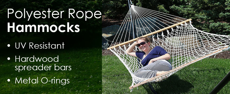 this double rope hammock is perfect in the yard or as a portable hammock  with its 450 lb weight capacity it is the perfect 2 person hammock and can be used     amazon     sunnydaze polyester rope hammock two person with      rh   amazon
