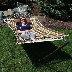 sunnydaze cotton rope hammock with 12 foot steel stand amazon     sunnydaze cotton rope hammock and durable 12 foot      rh   amazon