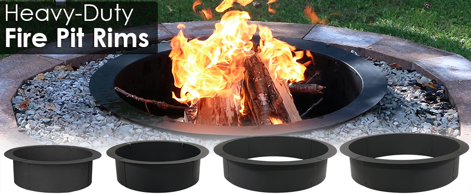 sunnydaze fire pit ring liner heavy duty diy above or in ground 33 inch outside. Black Bedroom Furniture Sets. Home Design Ideas