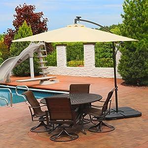 10 Foot Offset Solar Patio Umbrella