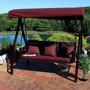 Sunnydaze Deluxe Outdoor Patio Swing with Heavy Duty Steel Frame Canopy Maroon Cushions and Attached Side Tables & Amazon.com : Sunnydaze 3-Seat Deluxe Outdoor Patio Swing with Heavy ...