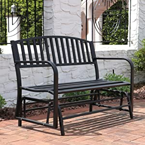 Sunnydaze Outdoor Patio Bench, Black