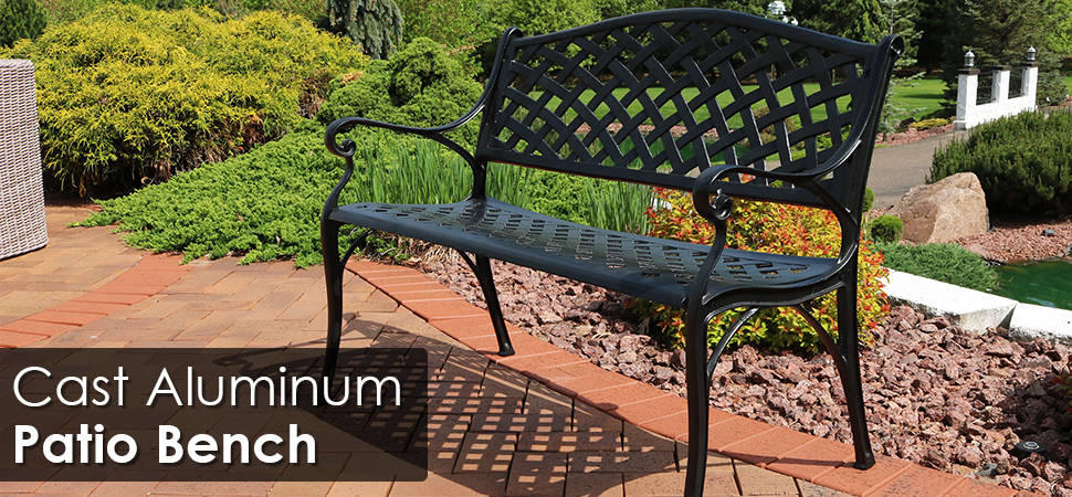 Sunnydaze Black Checkered Cast Aluminum Outdoor Patio Garden Bench, 2 Person