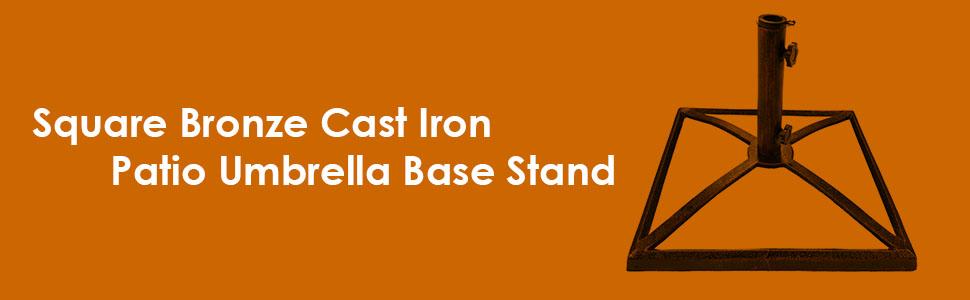 5fdb28b71847 Sunnydaze Heavy-Duty Square Bronze 17-Inch Cast Iron Outdoor Decorative  Patio Umbrella Base Stand