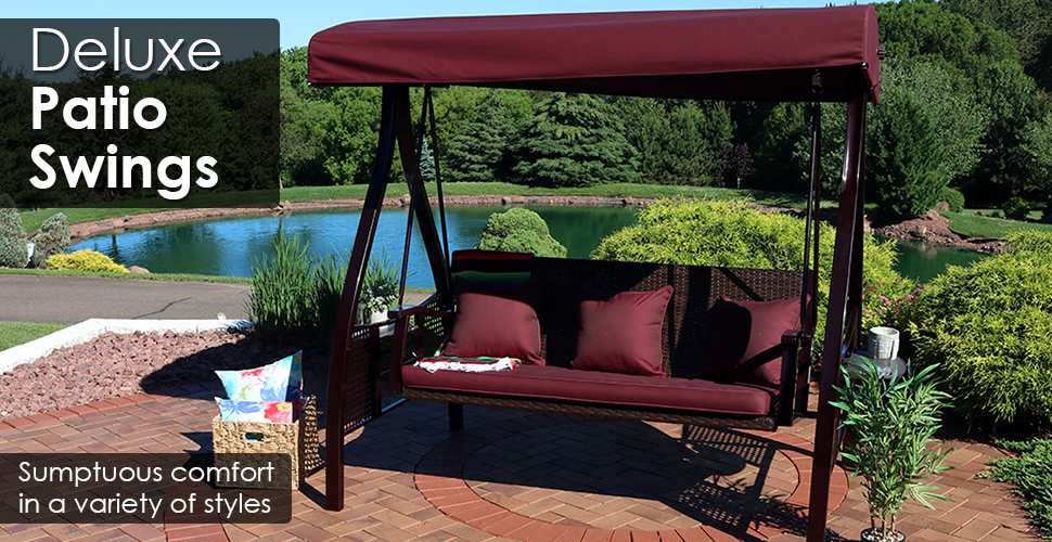 Amazon.com & Sunnydaze 3-Seat Deluxe Outdoor Patio Swing with Heavy Duty Steel Frame and Canopy Brown Stripe Cushions 600-Pound Weight Capacity