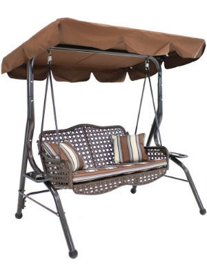 Amazon Com Sunnydaze 2 Seater Outdoor Rattan Patio Swing With Adjustable Tilt Canopy Striped 2 Pillows And Seat Cushion Brown Garden Outdoor