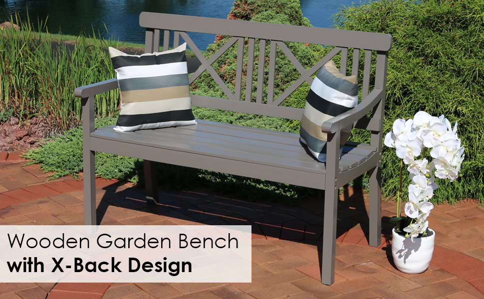 Admirable Sunnydaze 2 Person Outdoor Wooden Garden Bench With X Back Design 47 Inch Gray Dailytribune Chair Design For Home Dailytribuneorg