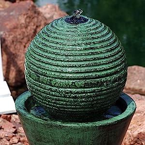 outdoor solar on demand water fountain feature backyard garden yard landscape lawn patio deck decor